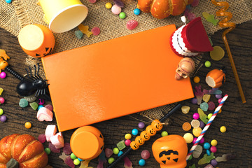 colorful party halloween with prop decor and dessert candy
