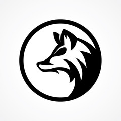 elegant modern wolf head logo in circle
