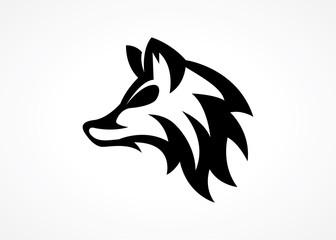elegant modern wolf head logo