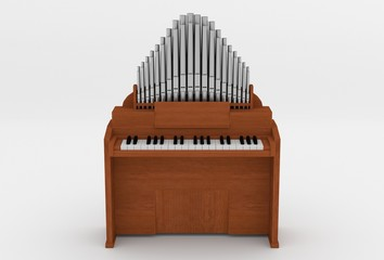 wooden harmonium 3D illustration front view