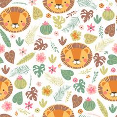 Fototapete - Cartoon seamless lion pattern