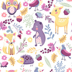 Seamless pattern with forest animals