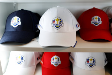 Caps with the 2018 Ryder Cup logo are displayed for sale at France's Golf National where the Ryder Cup 2018 tournament will be held at Saint-Quentin-en-Yvelines