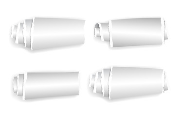 Set of rolled up paper isolated on white with shadow..