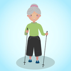 Senior woman doing nordic walking with sticks. The Scandinavian Walk. Sport for all ages. Anime style illustration. Old lady loves outdoors sports and fitness activity.