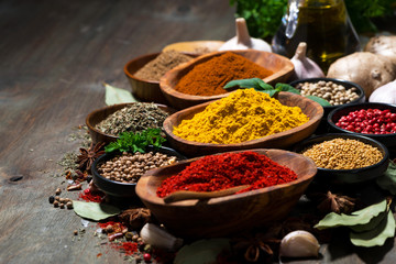 Foto op Canvas Kruiden assortment of spices and herbs, selective focus