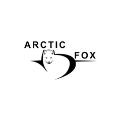 Vector arctic fox silhouette view side for retro logos, emblems, badges, labels template vintage design element. Isolated on white background