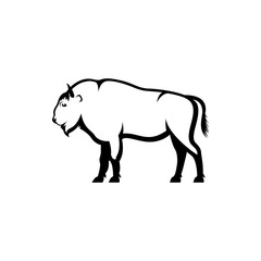 Vector bison silhouette view side for retro logos, emblems, badges, labels template vintage design element. Isolated on white background