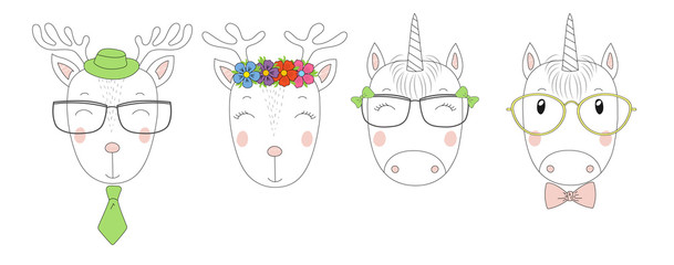 Hand drawn vector portraits of a funny reindeers and unicorns girls and boys in glasses.