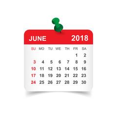 June 2018 calendar. Calendar sticker design template. Week starts on Sunday. Business vector illustration.