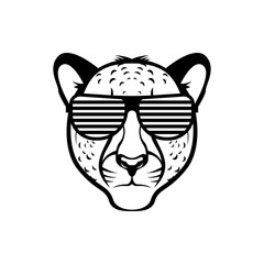 Vector cheetah head, face  for retro hipster logos, emblems, badges, labels template and t-shirt vintage design element. Isolated on white background
