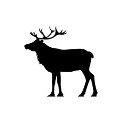 Vector deer silhouette view side for retro logos, emblems, badges, labels template vintage design element. Isolated on white background