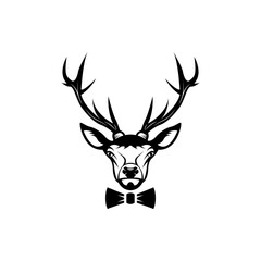 Vector deer head, face  for retro hipster logos, emblems, badges, labels template and t-shirt vintage design element. Isolated on white background