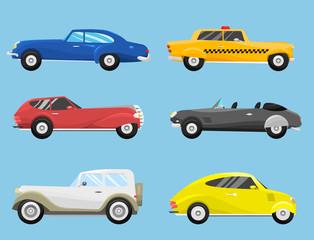 Retro vintage old style car vehicle automobile exclusive speed sport transport antique garage classic auto vector illustration
