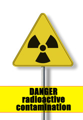 Danger of radioactive contamination - concept image with symbol of radioactivity
