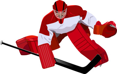 Hockey goalkeeper in the game
