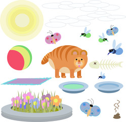abstract illustration of  red cat with toys on a white background