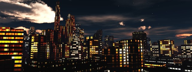 view of the night city, panorama of the night city, clouds over skyscrapers, 3d rendering
