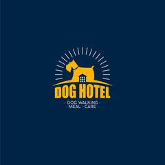 Dog Hotel logo. Dog with house on the dark background.