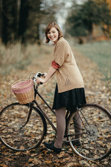 Woman out for fun bike ride in fall