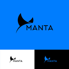 Manta ray logo. Diving club emblem.