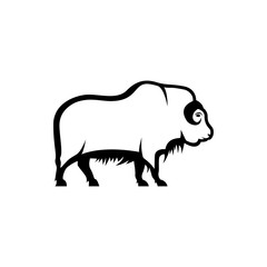Vector musk ox silhouette view side for retro logos, emblems, badges, labels template vintage design element. Isolated on white background