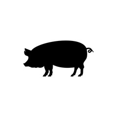Vector pig silhouette view side for retro logos, emblems, badges, labels template vintage design element. Isolated on white background