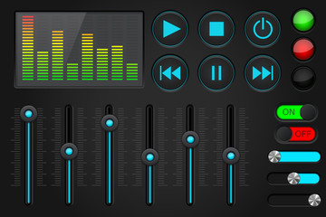 Sound control panel. Equalizer, set of media player buttons, sliders