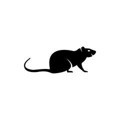Vector rat silhouette view side for retro logos, emblems, badges, labels template vintage design element. Isolated on white background