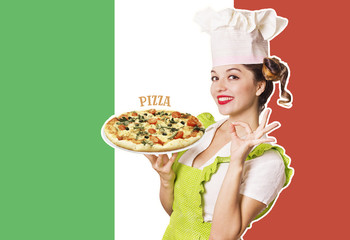 Woman chef holding pizza on Italian flag background