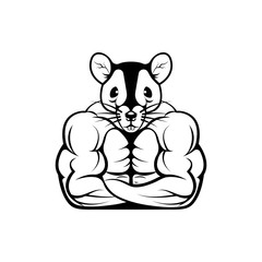 Vector fitness body with rat head, face  for retro logos, emblems, badges, labels template and t-shirt vintage design element. Isolated on white background