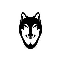 Vector wolf head, face  for retro logos, emblems, badges, labels template and t-shirt vintage design element. Isolated on white background