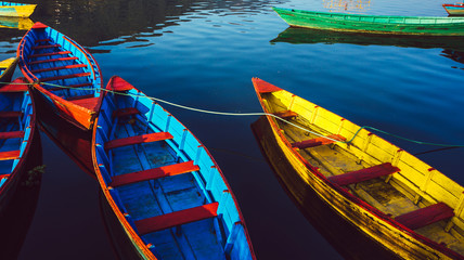 the boats in the phewa lake ,Pokhara
