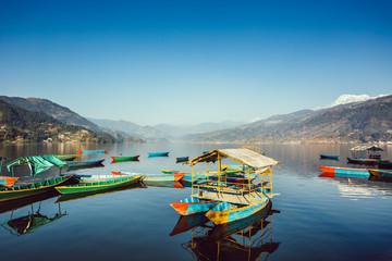 the boats in the phewa lake ,Pokhara