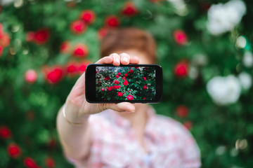 Woman holding cellphone with roses photo