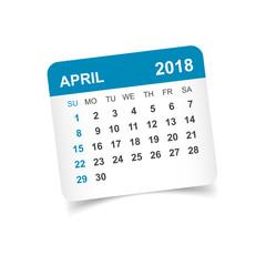 April 2018 calendar. Calendar sticker design template. Week starts on Sunday. Business vector illustration.
