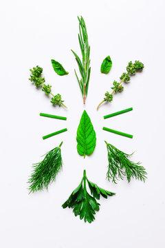 Aromatic herbs on white.