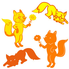 Four Silhouettes of foxes (orange and yellow), cartoon on white background,