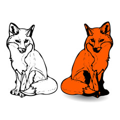 Two foxes Silhouette-drawing, cartoon on white background,