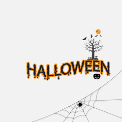 Halloween calligraphy abstract icon.Halloween vector lettering.Happy Halloween Text Banner.Vector illustration