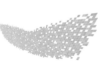 Data stream. Gray and white pixel wave.  Abstract digital vector Illustration. Modern technology design. Hi tech background.