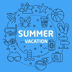 Linear illustration summer vacation