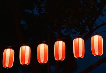 Paper red-white japanese lanterns Chochin shines on dark sky