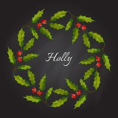 Christmas holly tree wreath