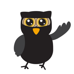 Halloween owl isolated on white, Vector illustration