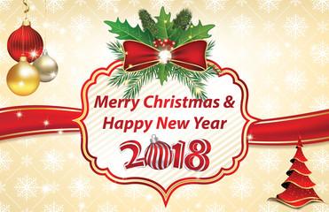 Elegant Christmas / New Year greeting card / background.