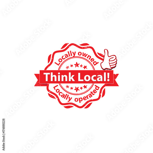 Think local  Locally owned and operated - printable stamp