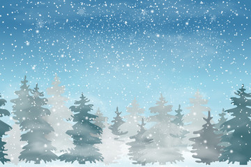 Seamless horizontal background. christmas landscape with Falling Christmas snow, coniferous forest. Holiday winter landscape for Merry Christmas and Happy New Year. Vector illustration