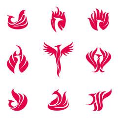 Set of stylized graphic phoenix bird logo templates. Collection of creative phoenix bird logotype templates, growth, development, power concept. Vector illustration isolated on white background.