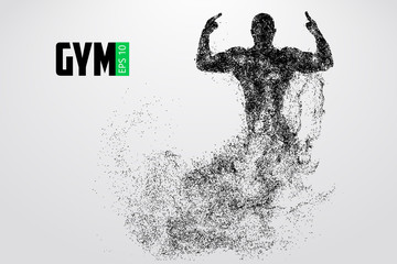 Silhouette of a bodybuilder. gym logo vector. Vector illustration